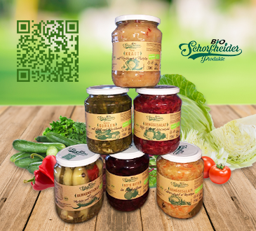 Organic vegetables preserves in glass jars pack